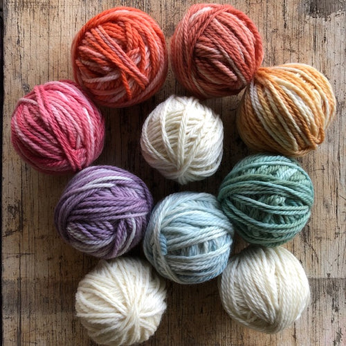 10 x 50g balls of wool ~ DOWN TO EARTH  RAINBOW tones ALSO individually colours