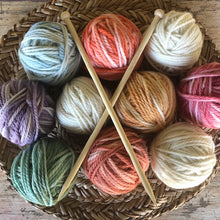 Load image into Gallery viewer, 10 x 50g balls of wool ~ 3 natural + 7 hand dyed ~ DOWN TO EARTH  RAINBOW tones (with or without 8mm bamboo knitting needles) ALSO individually colours