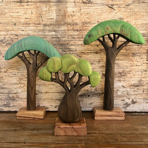 Wooden African Trees ~ set of 3