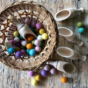 small round wooden scoop ~ loose parts play
