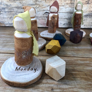 Day of the Week ~ Wood Folk Doll Set