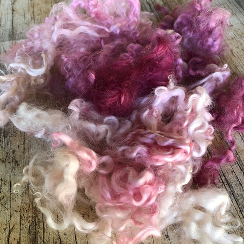 Pinks ~ hand dyed English Leicester Fleece