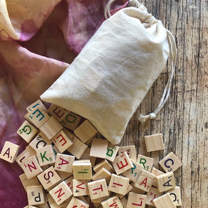 Wooden alphabet scrabble pieces ~ 100 tiles