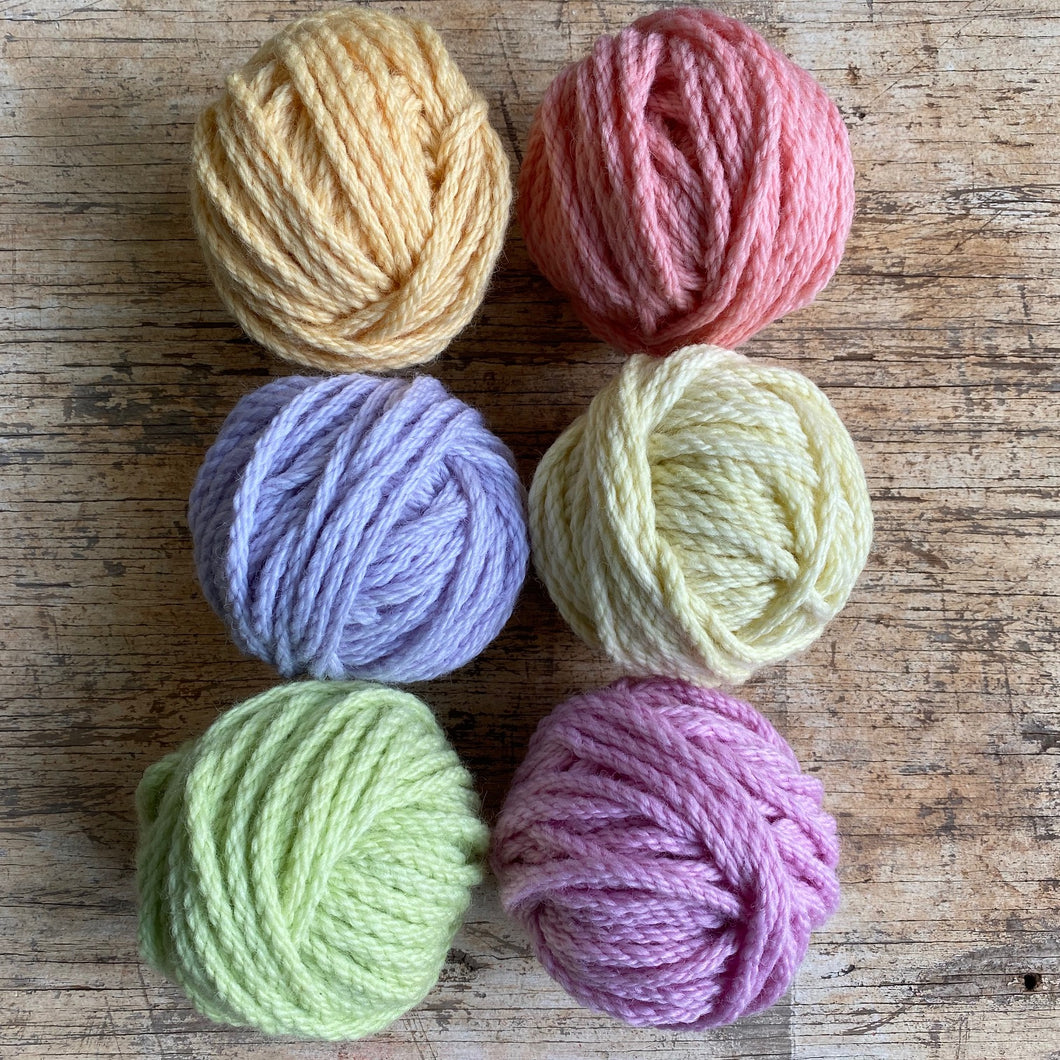 20ply chunky wool in soft pastel tones