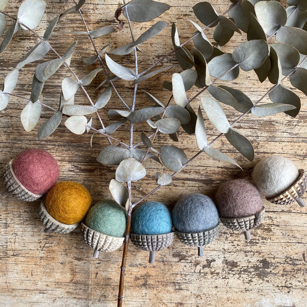 felt acorns ~ Earth pack of 7