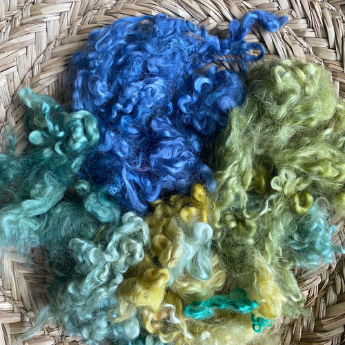 Watery Blues + Greens ~ hand dyed English Leicester Fleece