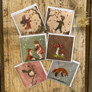 Postcard + Envelope set of 6 ~ adorable Prints of Needle Felted Work
