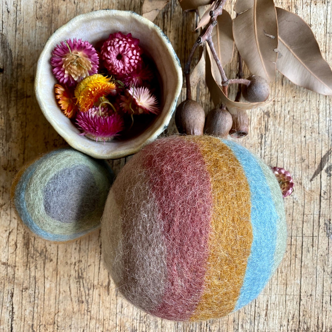 Earth Rainbow Felt Balls ~ 2 pack