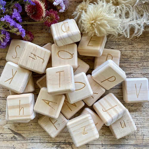 Wooden Alphabet Tiles ~ double sided.