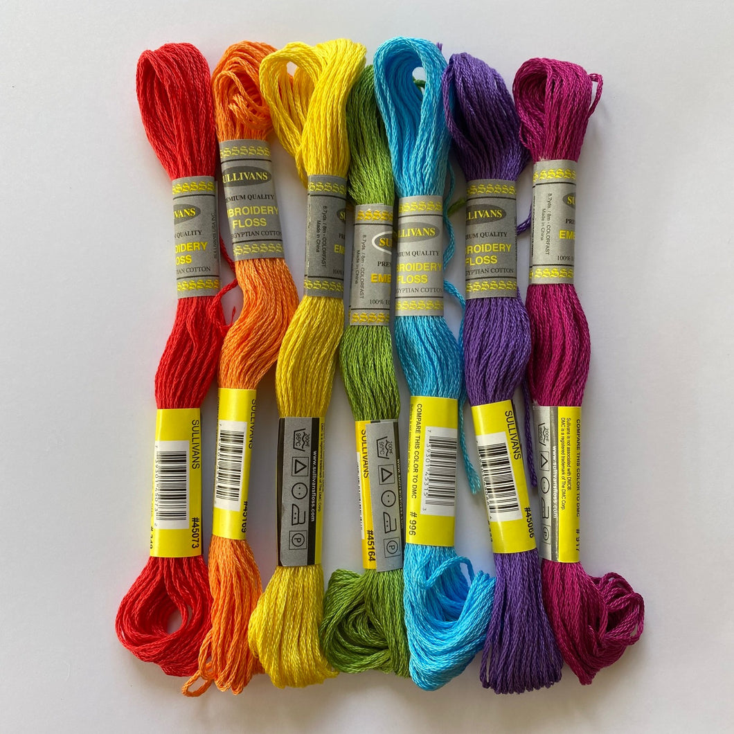 Spring Rainbow embroidery thread ~ matches beautifully with the SPRING RAINBOW pack of Hand Dyed Wool Felt