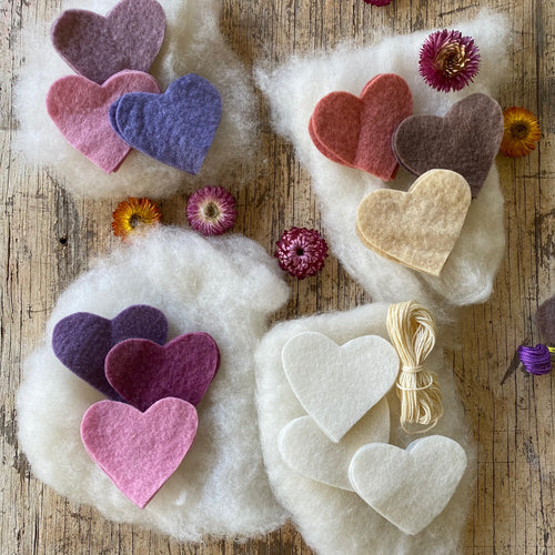 Small Hearts to make ~ Hand dyed pure wool felt ~ variety of colour ways.