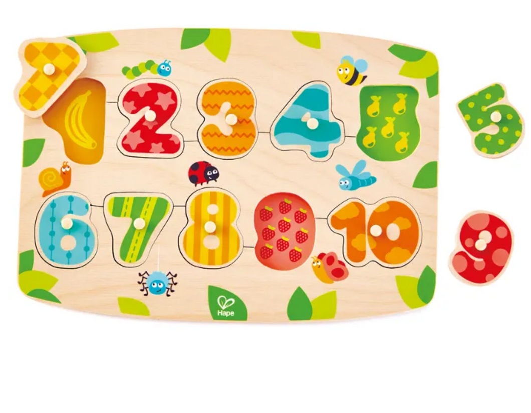 Number Peg Puzzle ~ 10 pieces ~ Hape