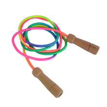 Load image into Gallery viewer, Rainbow Skipping Rope - Adjustable Length with Wooden Handles