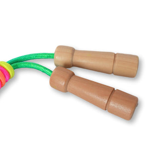 Rainbow Skipping Rope - Adjustable Length with Wooden Handles