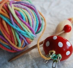 Wooden Knitting Mushroom with Hand Painted Rainbow Wool