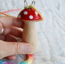 Load image into Gallery viewer, Wooden Knitting Mushroom with Hand Painted Rainbow Wool