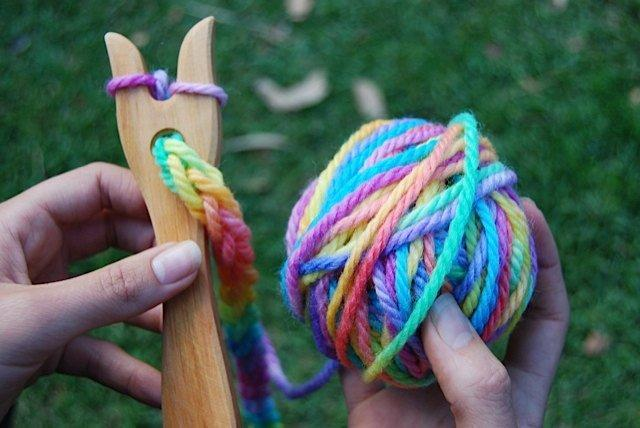 Wooden Knitting Fork with Hand Painted Rainbow Wool