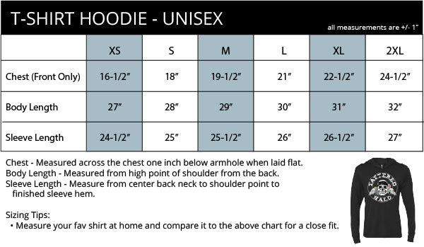 T-shirt Hoodie Size Chart