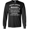 Three Moods Long Sleeve Black Tee - Tattered Halo