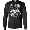 Tattooed and Employed Long Sleeve Tee - Black - Tattered Halo
