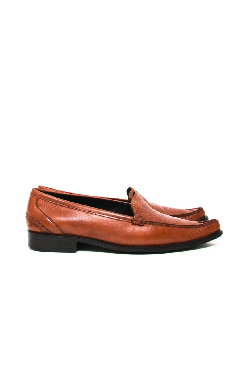 0656_VINTAGE POINTY 40,5 LEATHER COGNAC LOAFERS