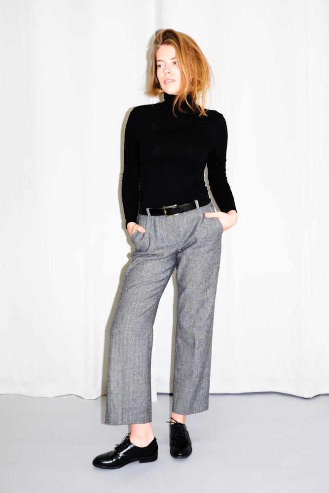 0562_COMMA WOOL HERRINGBONE PANTS