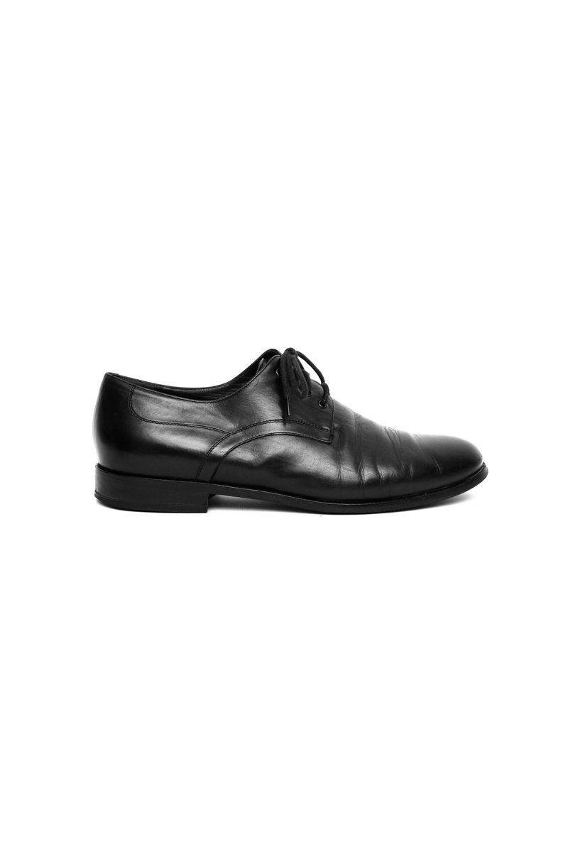 0561_LACE-UP 38,5 LEATHER BLACK BROGUES SHOES