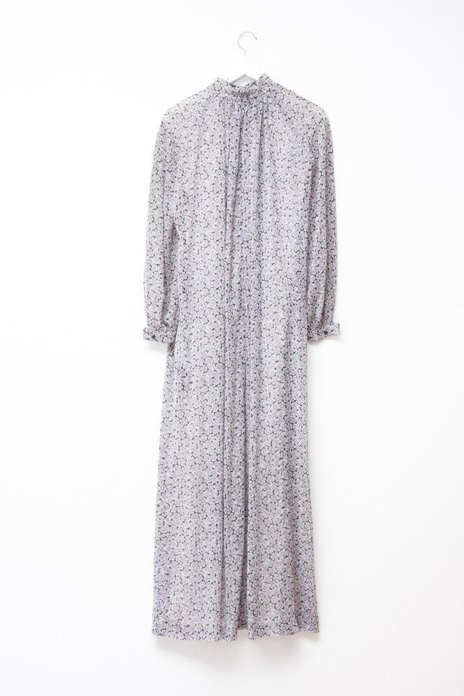 0714_VINTAGE PURPLE FLORAL TURTLENECK MAXI DRESS