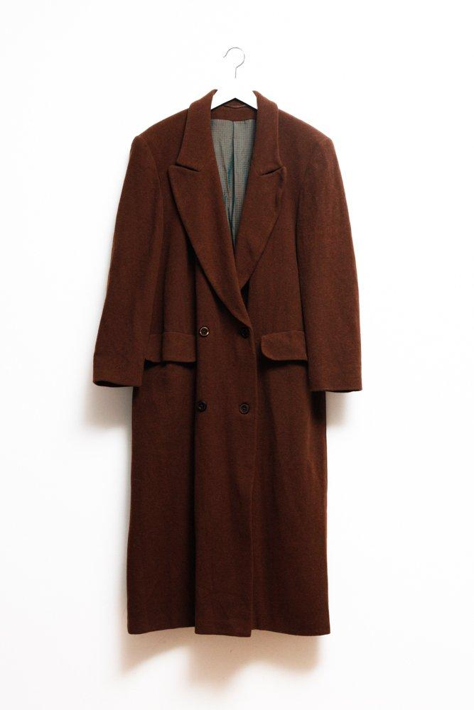 0620_VINTAGE BROWN LONG WOOL COAT