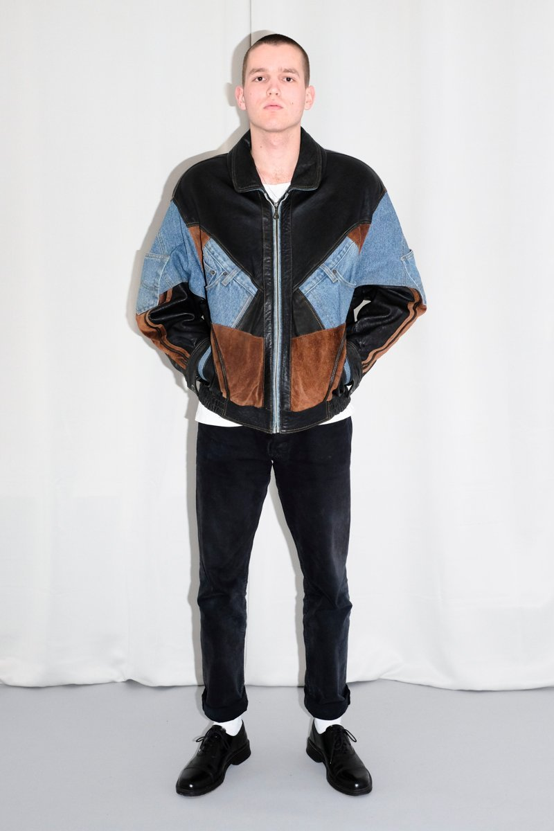 0528_VINTAGE LEATHER JEANS JACKET