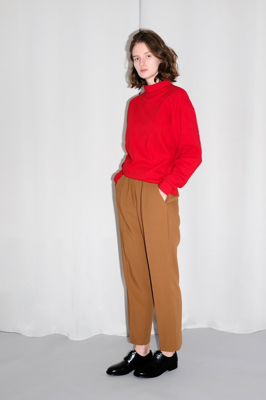 0170_CARAMEL VINTAGE PLEATED HIGH WAIST PANTS