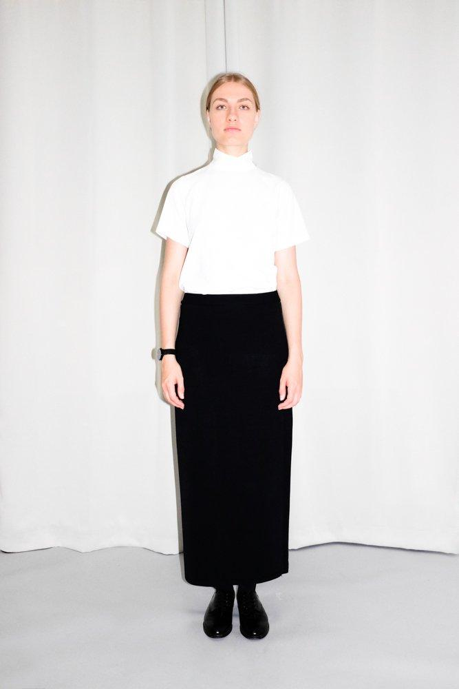 0727_VINTAGE CLEAN CHIC STRAIGHT BLACK MAXI SKIRT