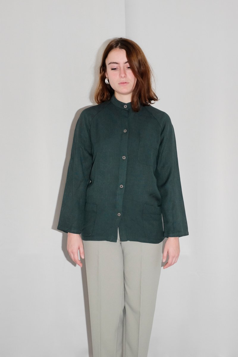 0143_LINEN VISCOSE GREEN STRAIGHT SHIRT