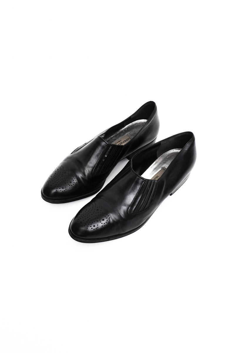 0506_LORENZO BANFI 38,5 39 BLACK LEATHER CHELSEA BUDAPESTER