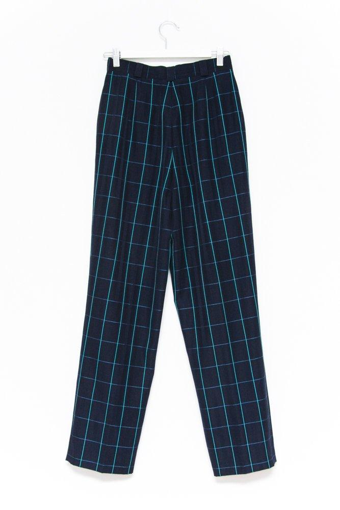0586_CHECKED NAVY HIGH WAIST VINTAGE PANTS