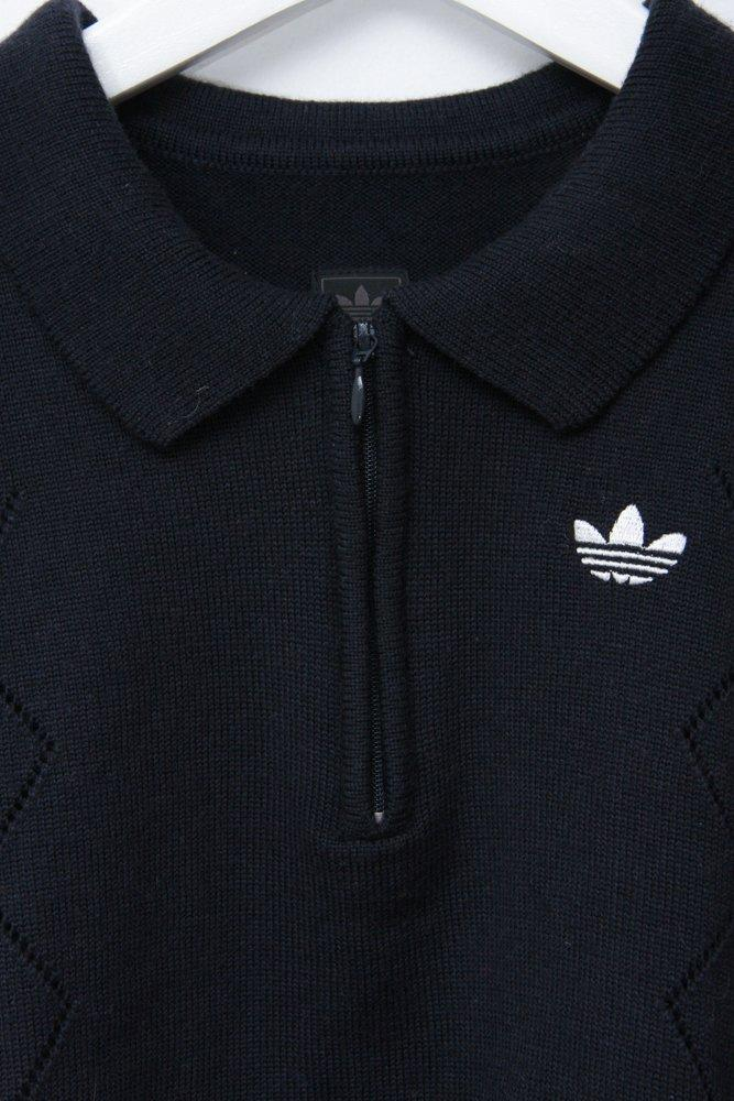 0699_ADIDAS VINTAGE NAVY KNIT POLO SHIRT