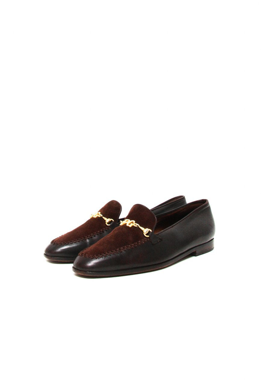 0673_PAUL GREEN 38 BROWN BUCKLE LEATHER SUEDE SLIPPERS