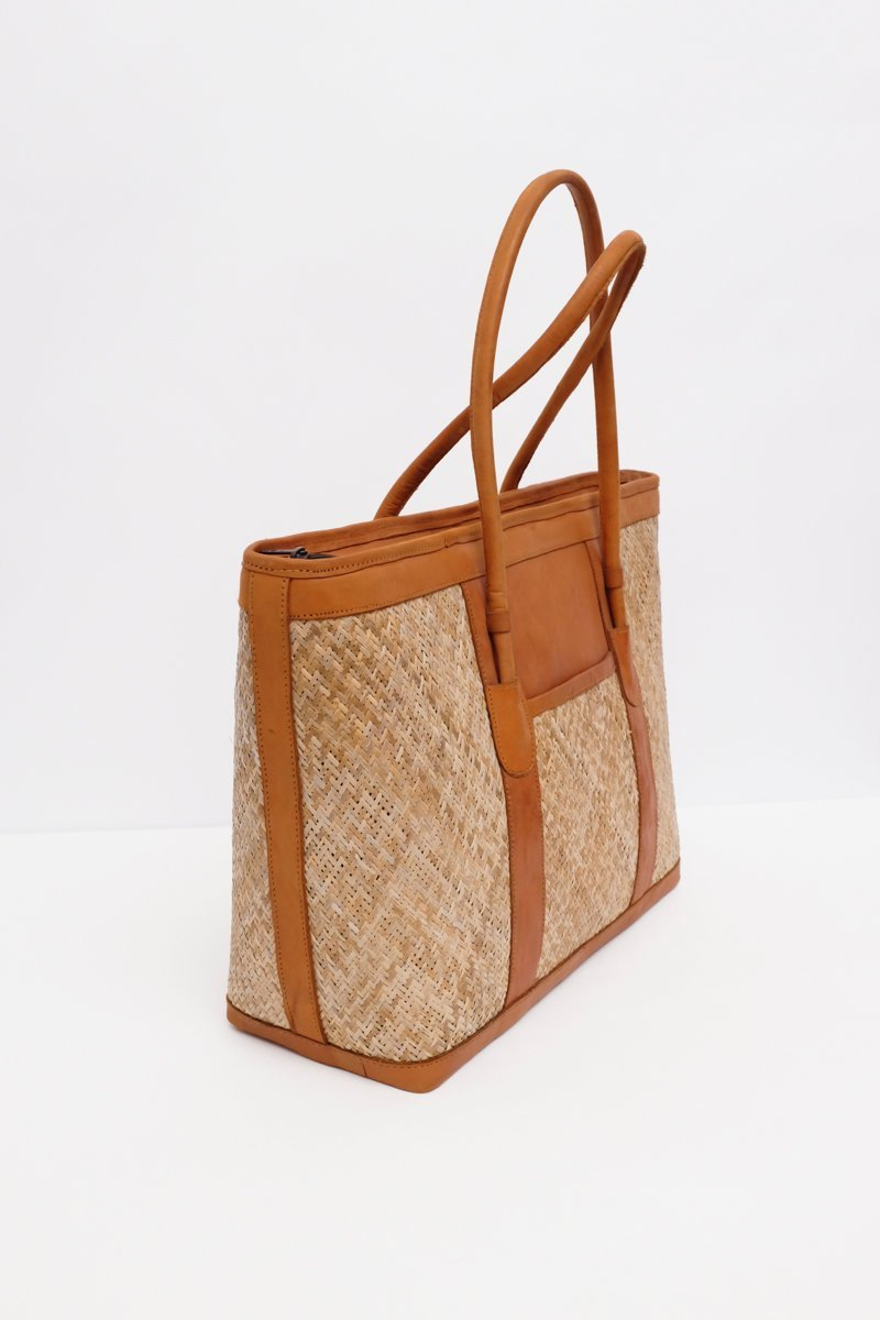 0250_XXL LEATHER STRAW SHOPPER
