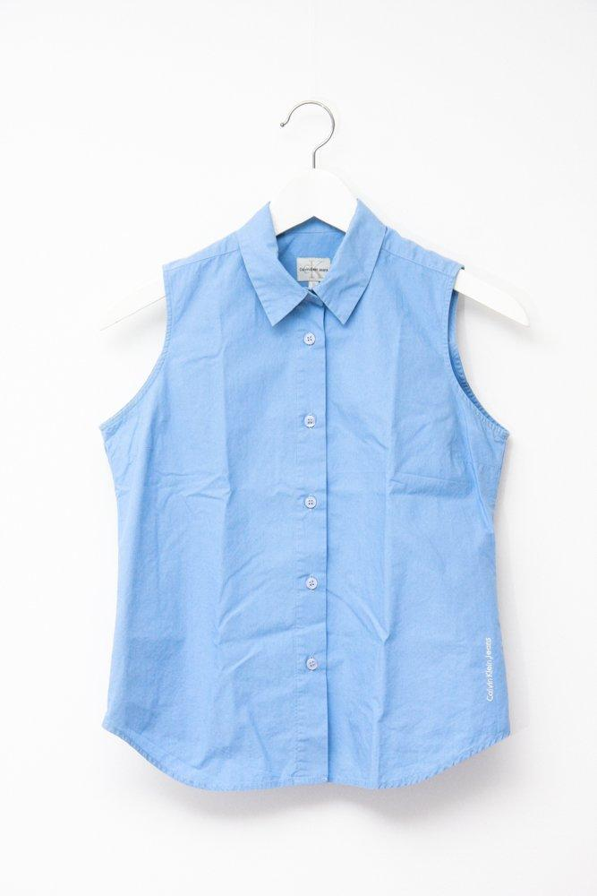 0752_CALVIN KLEIN VINTAGE BLUE SLEEVELESS SHIRT