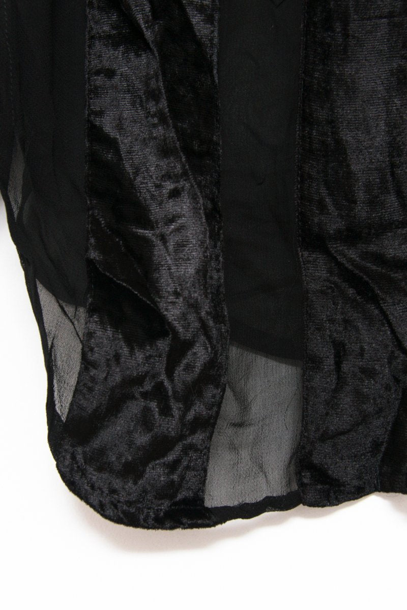 0552_VINTAGE BLACK LONG VELVET BLOUSE