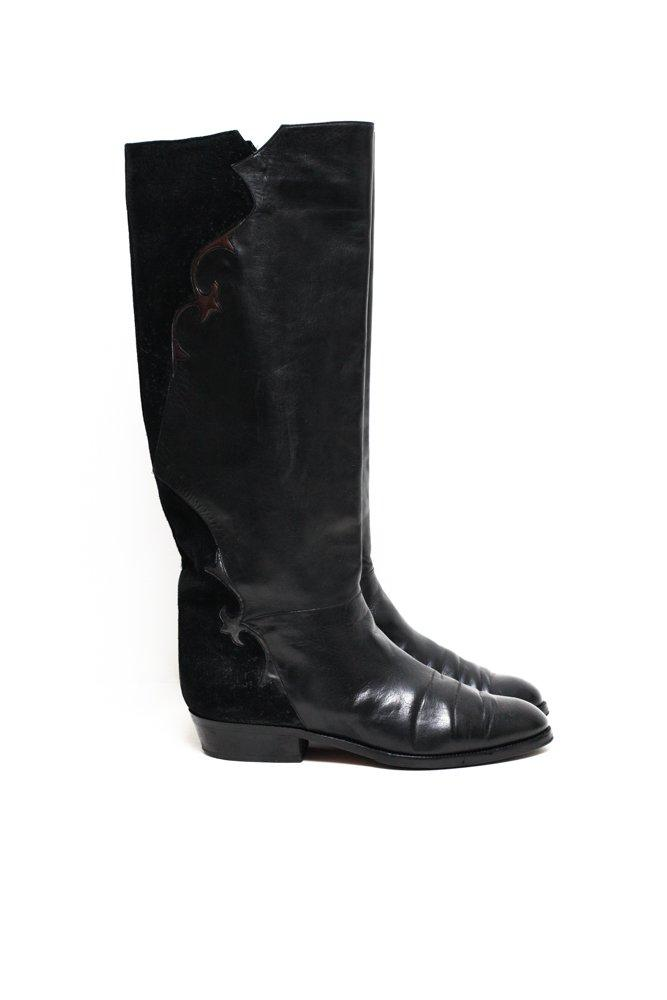 0617_VINTAGE 41 ITALY LEATHER SUEDE KNEE BOOTS