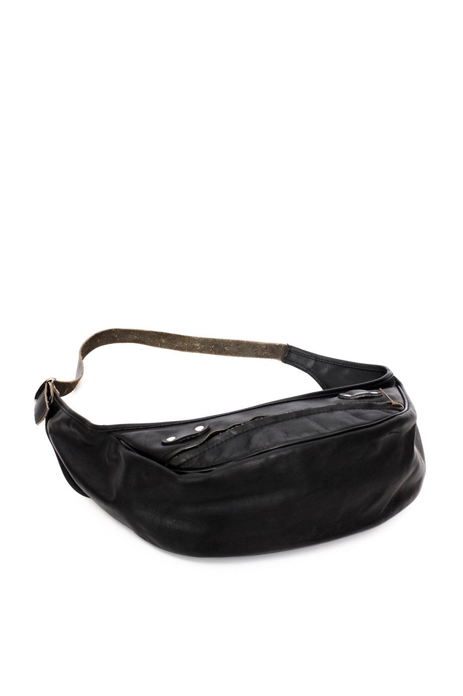 0407_VINTAGE BLACK LEATHER HIP BAG