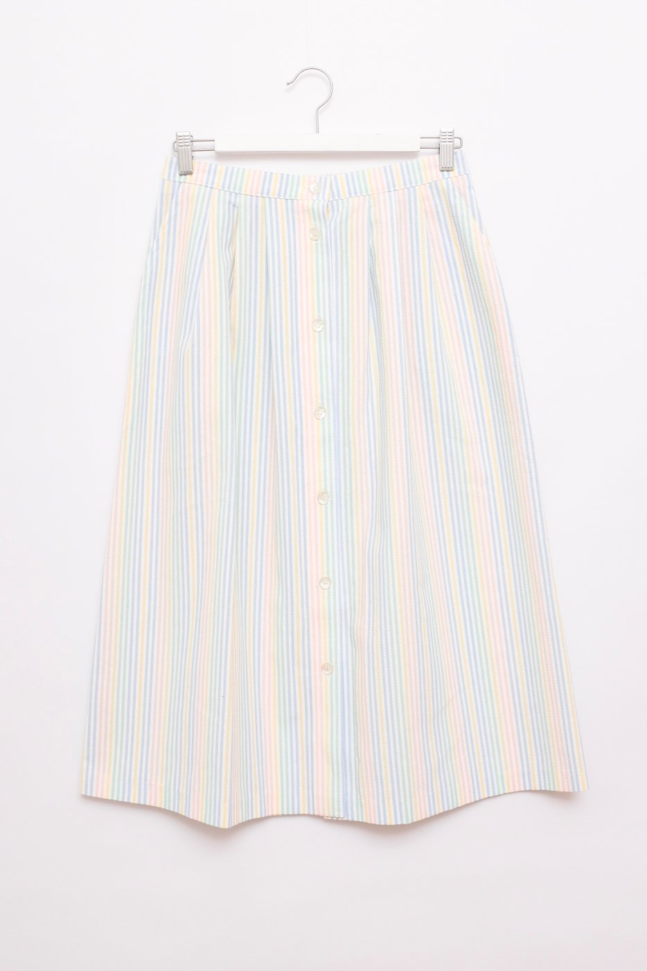0413_PASTEL STRIPED VINTAGE MIDI SKIRT