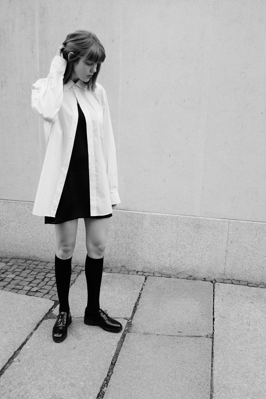 0489_COTTON OVERSIZED OFF WHITE SHIRT DRESS