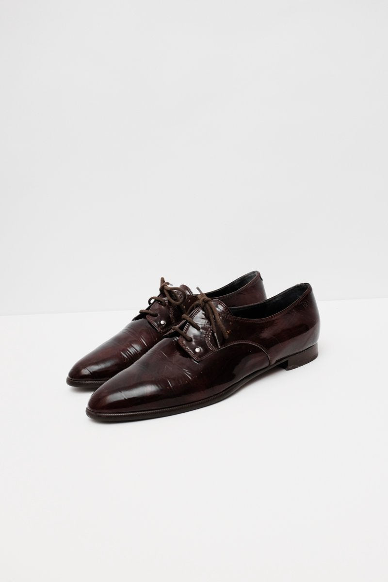 0200_BROWN ITALY POINTY LEATHER LACE-UPS