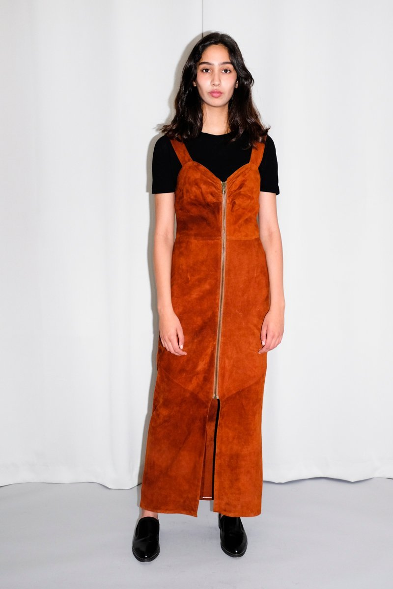 0518_SUEDE ZIP MAXI VINTAGE DRESS