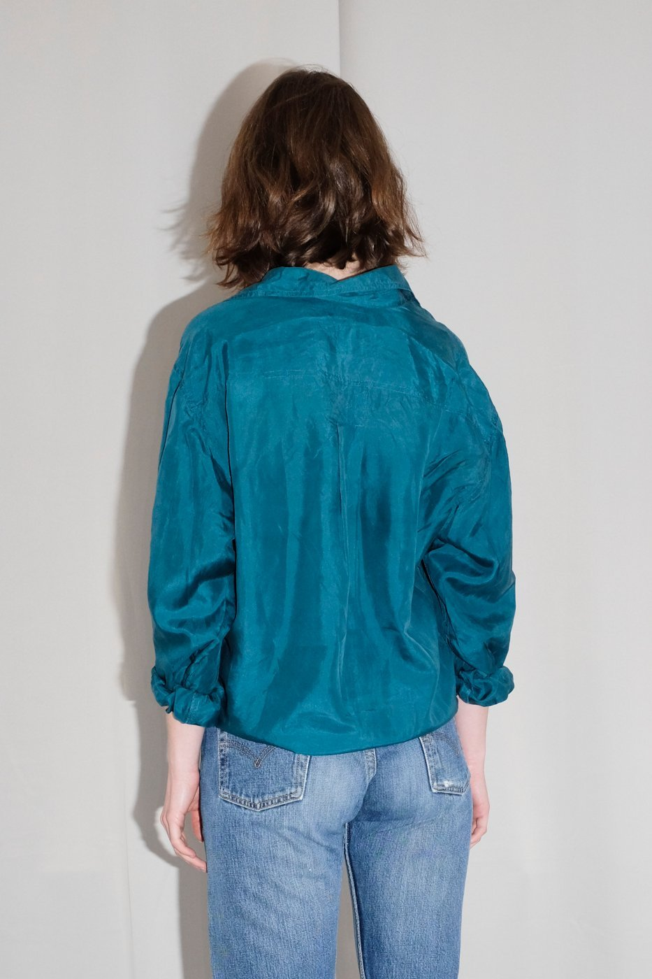 0371_FOREST GREEN SILK BLOUSE
