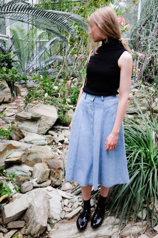 0751_VINTAGE PALE BLUE DENIM BUTTON UP MAXI SKIRT