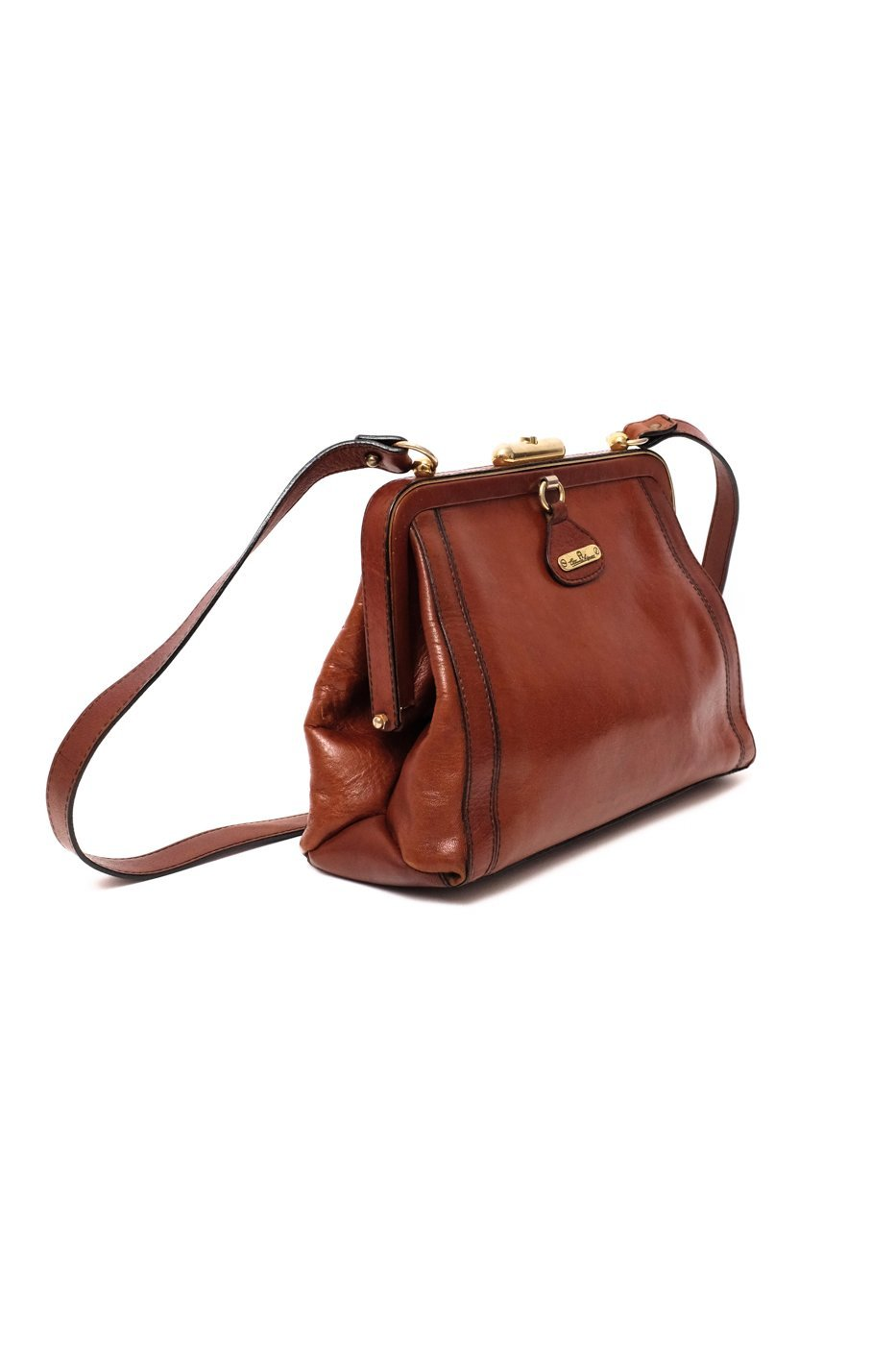 0284_AIGNER VINTAGE COGNAC LEATHER BAG