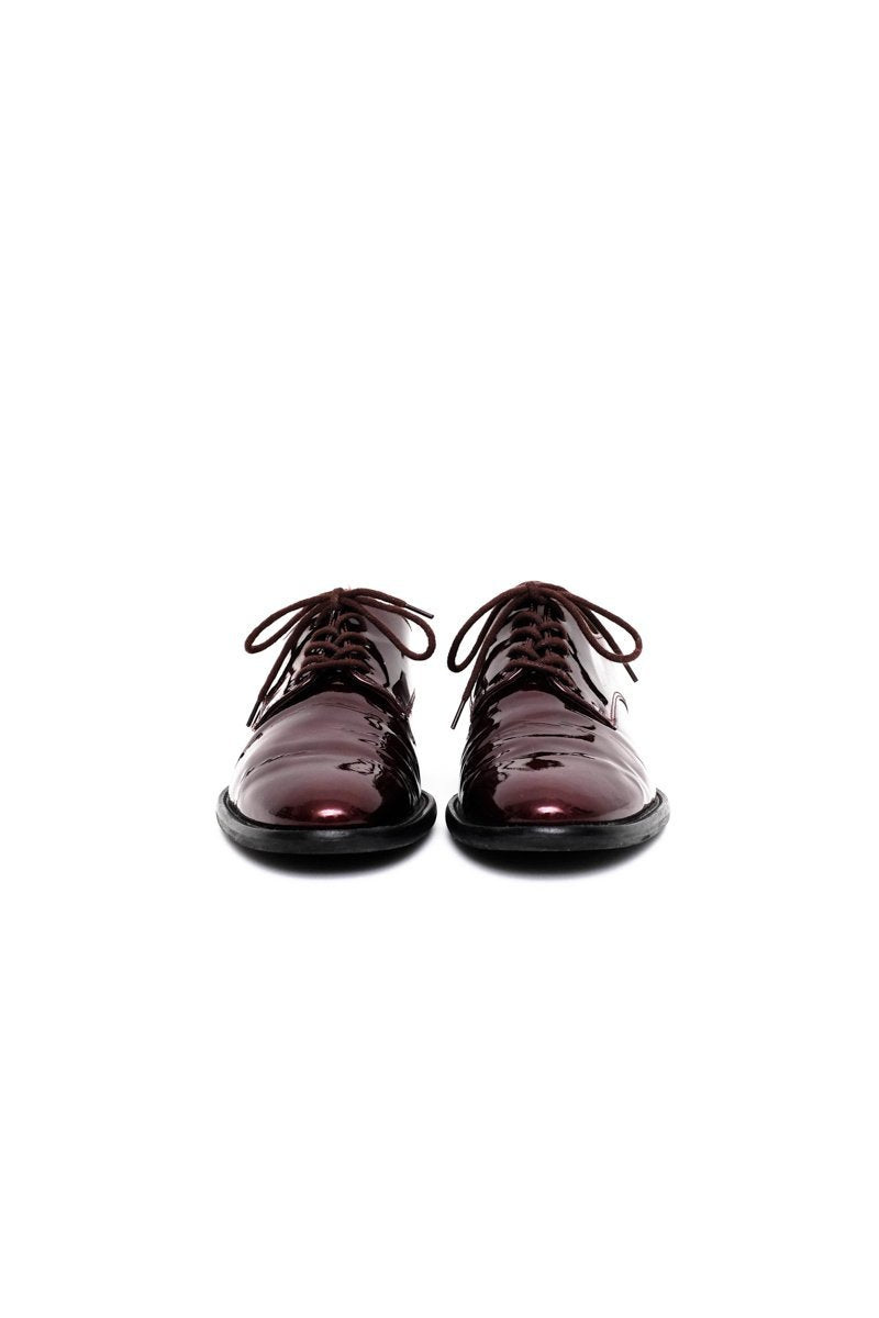 0560_BURGUNDY 36 36,5 PATENT LEATHER LACE-UP BROGUES